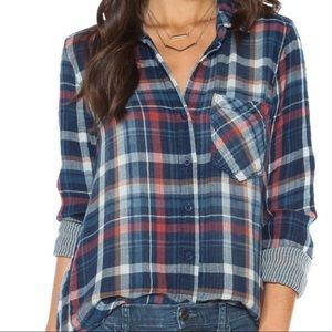 Bella Dahl Plaid Pinstripe Button Up Shirt Medium